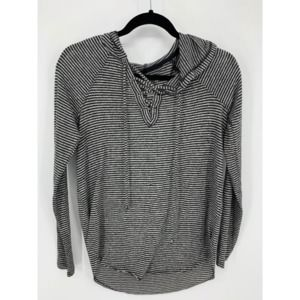 AEO soft sexy black gray stripe hooded blouse S